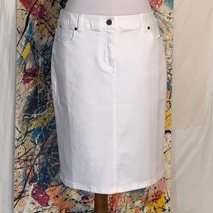Talbots white denim pencil skirt.